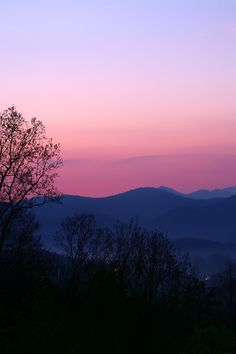 Beautiful pink and purple sunrise in the Smokies