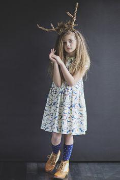 Blue Yonder Peter Pan Collar Girls Cotton Airplane Dress Fleur + Dot