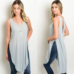 Light Blue Sleeveless Tunic w/ Long Side Slits New with tags. Sleeveless light blue tunic with open back detailing, curved hem, and long side slits. Also available in a peach color. Available in size S, M, and L.                                                              65% polyester, 35% rayon.                                      Made in USA.                                                           PRICE IS FIRM UNLESS BUNDLED.                          ❌SORRY, NO TRADES. Boutique Tops…