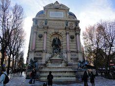 La fontaine Saint-Michel est une fontaine située dans le 6e arrondissement de Paris sur la place Saint-Michel, au croisement du boulevard Saint-Michel et de la rue Danton. Elle a la particularité d'occuper à elle seule tout un mur pignon.