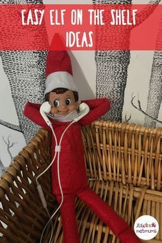 Easy Elf on the Shelf ideas. Make you elf listen to music through your headphones!