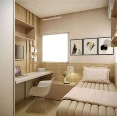 35 Inspiration For Small Space Bedroom Decorating Ideas - It& not that difficult to purchase bedroom furniture for small spaces if you remember a few ground rules, for instance, when you are particularly lim. Small Apartment Bedrooms, Small Space Bedroom, Small Apartment Design, Small Bedroom Designs, Small Rooms, Small Apartments, Small Spaces, Apartment Ideas, Small Desks