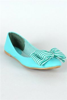 AwesomeNice Bamboo Raige-01 Striped Bow Ballet Flat Turquoise