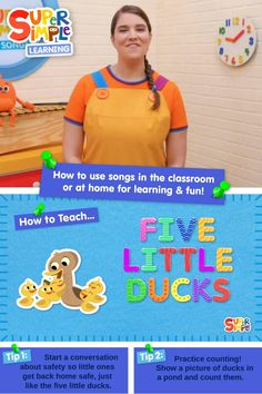 """Learn how to teach the kids song """"Five Little Ducks"""" to young learners. Watch Caitie as she demonstrates some of the easy and fun steps on how to teach this popular kids song from Super Simple. Preschool Songs, Toddler Preschool, Toddler Crafts, Preschool Activities, Five Little, Little Duck, Popular Kids Songs, Counting Songs, Boat Crafts"""
