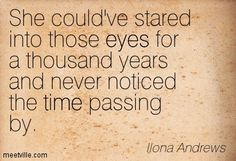 She could've stared into those eyes for a thousand years and never noticed the time passing by. Ilona Andrews
