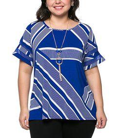 Look at this #zulilyfind! Blue & White Asymmetrical-Stripe Top - Plus #zulilyfinds