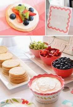 shower ideas, birthday parties, fruit pizza bar, food, pizzas, make your own fruit pizza, dessert, bridal showers, baby showers