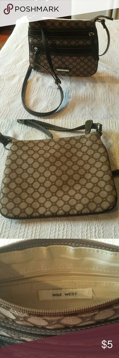 Nine West Brown Purse Small Long Strap 9 Pattern Bag