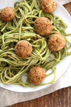 "Amazing Pesto Spaghetti with Vegan Meatballs made with Chickpeas. Vegetarian Chickpea Walnut ""meatballs"" over pesto pasta. Ready in 40 Minutes. Vegan Soyfree Recipe. Can be Glutenfree   VeganRicha.com"