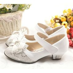 Silver White Sequined Flower Pageant Girl Girls Dress Mary Jane Shoes SKU-133374