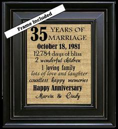 35th Wedding Anniversary 35th Anniversary Gifts by BurlapNGlass