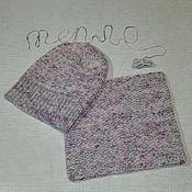 Аксессуары ручной работы. Ярмарка Мастеров - ручная работа Комплект вязаный шапочка и снуд из пряжи окрашеной вручную. Handmade.