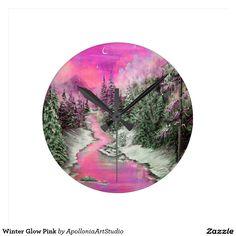 Winter Glow Pink Round Wall Clocks