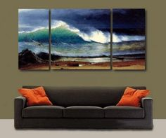 3 pics Paciffic Ocean Big Wave Seascape Large Modern Art 100% Hand Painted Oil Painting on Canvas Wall Art Deco Home Decoration (Unstretch No Frame) by galleryworldwide, http://www.amazon.com/dp/B0093YEA8C/ref=cm_sw_r_pi_dp_4pbHrb12YCWNF