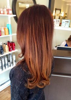 red/brown base with balayaged warm gold/copper tones. by gracetocreate.