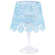 מעמד לנר מעוצב, עשוי גביע זכוכית וסיליקון בצבע כחול, דגם WW003 Esschert Design