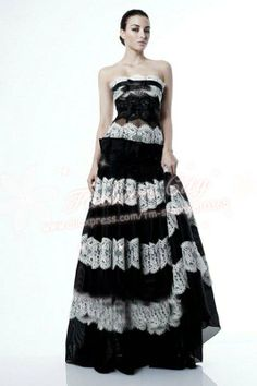 zuhair murad couture black and white  lace wedding dress US $285.00