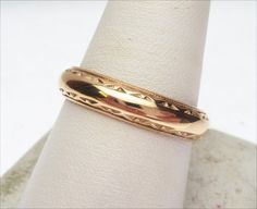 14k Geometric Edge Carved Wedding Band by KlinesJewelry on Etsy