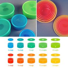 Portionware Dish Set: Discreetly keep track of portions with a Portionware Dish Set ($30). Each of the five BPA-free cups has a matching lid with a symbol that indicates serving sizes ranging from half a cup to two cups. The set comes in three colors: blue, red, and clear.