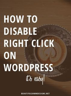 A quick tutorial showing you how to disable right on WordPress. This will stop people from saving your blog images.