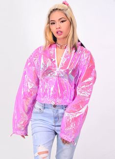 Hot Pink Iridescent Jacket – In Control Clothing Cute Fall Outfits, Pink Outfits, Fashion Outfits, Older Women Fashion, Barbie, Colorful Fashion, Clothing Items, Hot Pink, Jackets