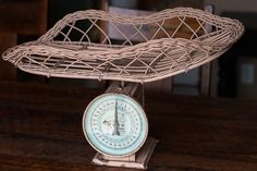Antique Pink Wicker Baby Nursery Scale by PrimitiveMoose on Etsy, $115.00