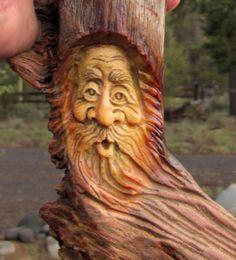 Wood Wizard Forest Face Log Home Cabin Art Rustic Spirit Hobbit Carving Carved…