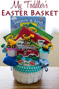 Easter basket for toddler boys Search & Find Book 2 - Coloring Books 2 - 24 piece puzzles 2 - DVDs (Happy Feet & Curious George) 1 - Firetruck 3 - Construction Vehicles 2 - Containers of Playdough 4 - Pouches of Fruit 3 - Granola Bars 2 - Pairs of Pajamas Easter Baskets For Toddlers, Boys Easter Basket, Easter Crafts For Kids, Easter Party, Easter Gift, Easter Treats, Hoppy Easter, Easter Eggs, Easter Bunny