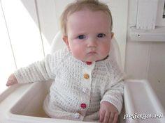Очень мягкая кофточка спицами малышу от Lena Gjerald