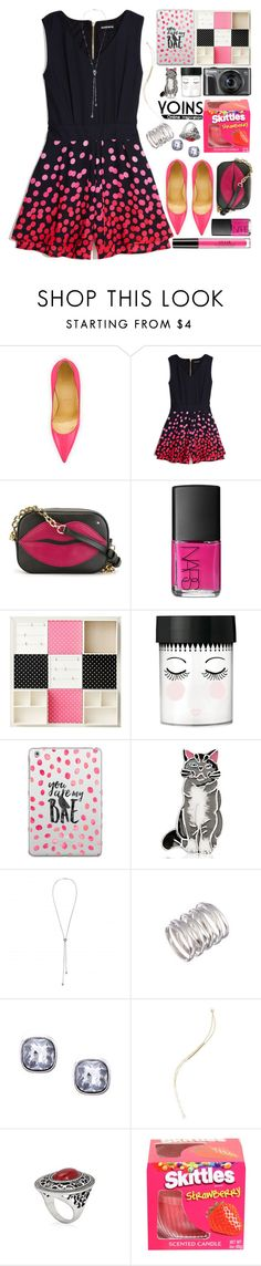 """""""Dottie Style"""" by grozdana-v ❤ liked on Polyvore featuring Christian Louboutin, GUESS by Marciano, Charlotte Olympia, NARS Cosmetics, PBteen, Casetify, Bling Jewelry, Stila and yoins"""