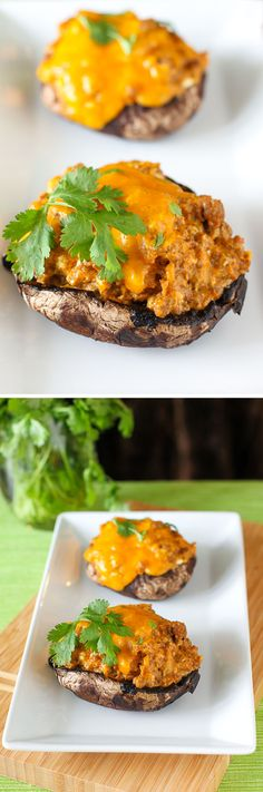 Taco Stuffed Portobello Mushrooms: These stuffed mushrooms are low-carb, lightning fast, and so very delicious! Perfect weeknight meal.