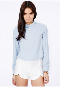 Missguided - Chella Collared Long Sleeve Blouse In Baby Blue
