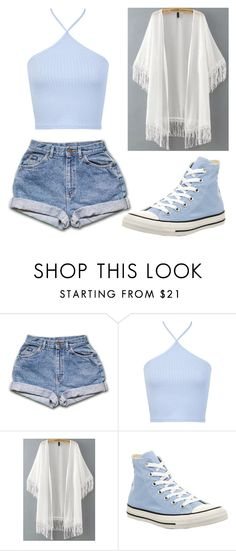 """""""Blue and White!"""" by kathleen-shively ❤ liked on Polyvore featuring Miss Selfridge and Converse"""