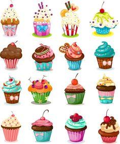 Set of 28 vector cartoon cupcakes, birthday cakes and pies for your birthday car. - Set of 28 vector cartoon cupcakes, birthday cakes and pies for your birthday cards, invitations, po - Cupcake Illustration, Cartoon Cupcakes, Cupcake Kunst, Cupcake Art, Art Cupcakes, Cupcake Painting, Cute Cupcake Drawing, Cupcake Icon, Vintage Cupcake