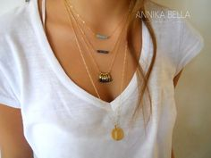 Layered Gold Necklace Set -Blue and Aqua Jade gemstone pendants. Delicate gold necklace set