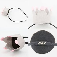 Mini felt crown headbands