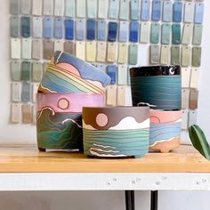 Here's a few of the planters that will be available in the water collection restock that's happening next Saturday! I still have a huge… Pottery Painting, Ceramic Painting, Ceramic Art, Ceramic Mugs, Ceramic Bowls, Diy Clay, Clay Crafts, Ceramic Pottery, Pottery Art