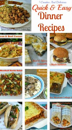 Quick And Easy Dinner Recipes ~ a Collection of meals perfect for busy weeknights! #PastaDishes #Sandwiches #WhatsForDinner