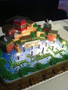Minecraft Cake! I pinned it I did it! Inspired by another Pinner. Sheet cake from Shoprite and used rice crispy treats, icing and minecraft cut outs for design! It was a hit!