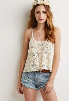 Crafted from the same fabric as your favorite sweater but made for summer, this crochet cami is constructed with unique sunbursts across the center for an eye-catching finish. Let a lace bandeau peek through the cutouts for a girly touch. Crochet Shirt, Crochet Top, Fashion Models, Girl Fashion, Womens Fashion, Short Outfits, Casual Outfits, Lace Bandeau, Beautiful Redhead