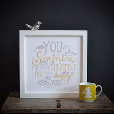 Hand lettered Typography Print 'You are my Sunshine' in Yellow and Gray