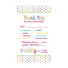 Girl Scout Cookie Order Receipt Thank You Card by HartPaper Daisy Girl Scouts, Girl Scout Troop, Gs Cookies, Girl Scout Juniors, Girl Scout Cookies, First Girl, Homemade Cards, Thank You Cards, Brownies