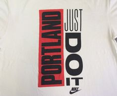 6969ca846ee Vintage NIKE Shirt 90's/ Original JUST Do It PORTLAND Box Huge Print Grey  Tag Tshirt/ Blazers UsA Made Cotton X-Large