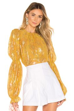 Shop for Ulla Johnson Aster Blouse in Citrine at REVOLVE. Jojo Fletcher, Bell Sleeves, Bell Sleeve Top, What Women Want, What's In Your Bag, Outfit Combinations, Ulla Johnson, Aster, Curvy
