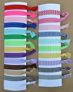 No Bump Hair Ties  5 pack Solid & Chevron by ThePreppyLadybug, $6.00