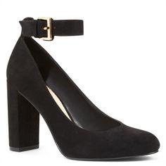 Nine West Louiza Ankle Strap Pumps ($70) ❤ liked on Polyvore featuring shoes, pumps, black, black block heel pumps, block-heel shoes, ankle strap shoes, black shoes and black ankle strap shoes