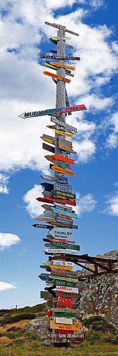 Sign post showing distances to various countries, Stanley, Falkland Islands