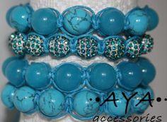 Shambala bracelet - turquoise,aquamarine,crystal by AYAJEWELLERY for $50.00