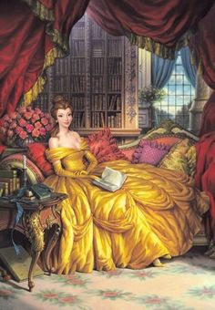 Belle in her library