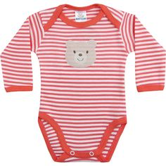 Body de Bebê Menina Listrado Laranja - Best Club :: 764 Kids | Roupa bebê e infantil